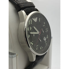 Emporio Armani Men's Green Dial Brown Genuine Leather Strap Watch AR-0623