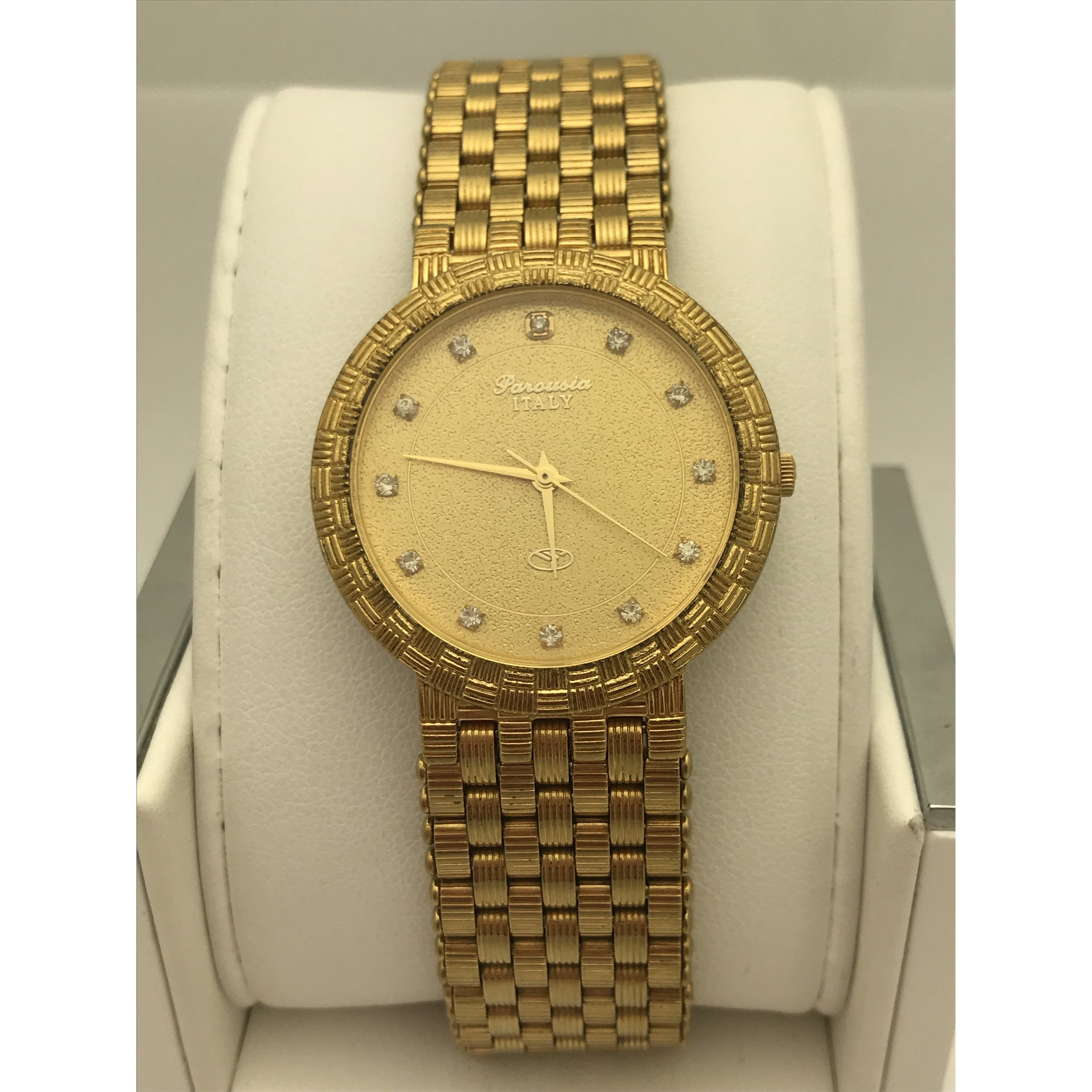 Parousia Italy Unisex Gold Tone Dial Gold Tone Stainless Steel Watch P2044M