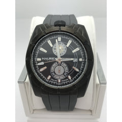 Haurex Italy Men's Black Dial Gray Silicone Strap Chronograph Watch 3J358UGW