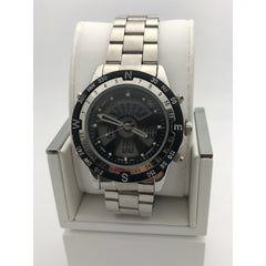 Kontas Men's Black Dial Silver Tone Stainless Steel Watch KTS-059