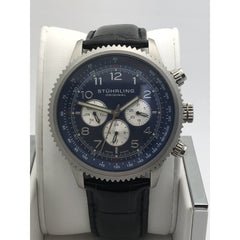 Stuhrling Men's Quartz Blue Dial Black Leather Band Watch 1109