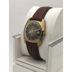 Time X Men's Black/Gold Tone Dial Brown Oilskin Leather Strap Watch