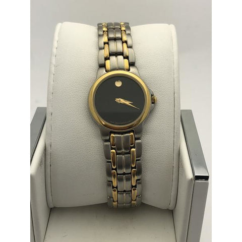 3c20c89d9 Movado Ladies Black Museum Dial Two Tone Stainless and Gold Watch 6324103