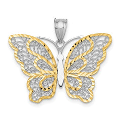 QGPK5987 14k White Gold With Yellow Rhodium Polished Filigree Butterfly Pendant
