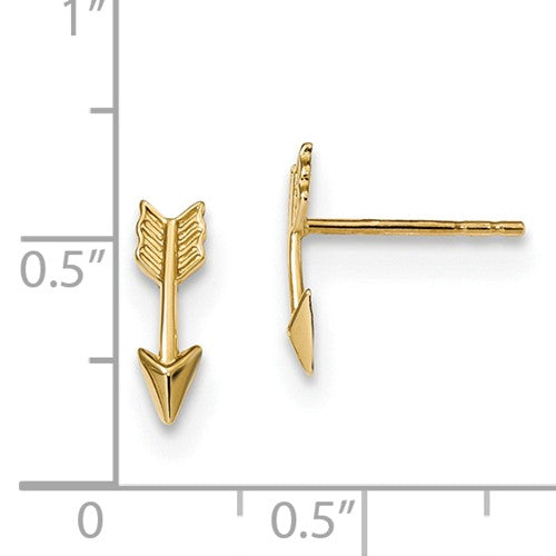 EARBBQGTC1006 14k Gold Polished Arrow Post Earrings