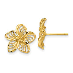 EARBBQGTC731 14K Diamond-Cut Filigree Plumeria Earrings
