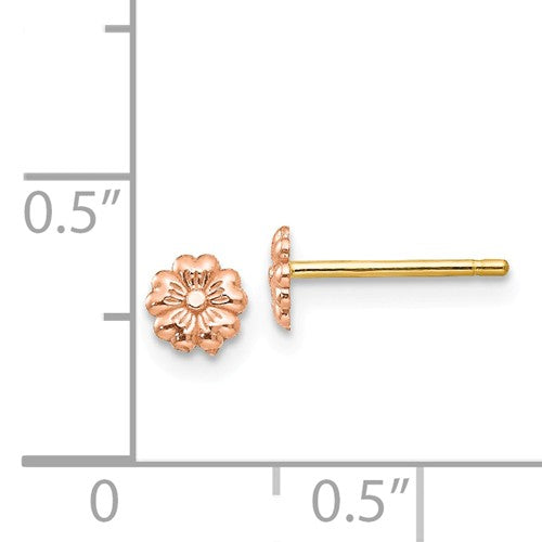 EARBBQGTF401 14k Rose Gold Flower Post Earrings