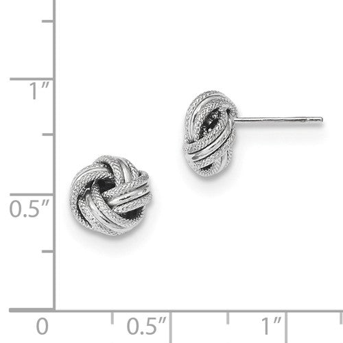 EARBBQGTL1058W 14k White Gold Polished Textured Triple Love Knot Post Earrings