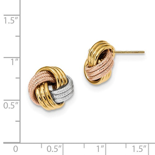 Real 14kt Yellow Gold w//White /& Rose Rhod Pol Love Knot Post Earrings