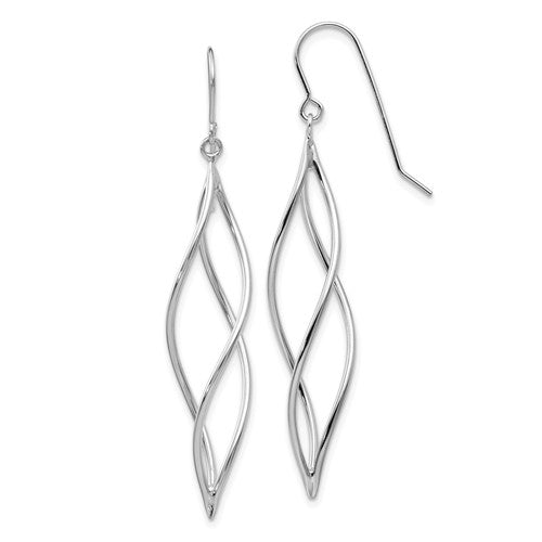 EARDDQGTL833 14k White Gold Polished Long Twisted Dangle Earrings