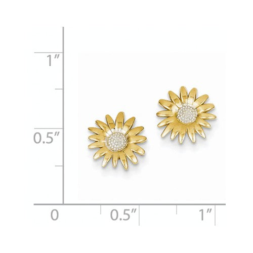EARBBQGTM735 14k And Rhodium Mini Daisy Post Earrings