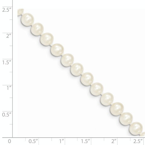 BRQGWPN060-7.5 14k 6-7mm White FW Cultured Near Round Pearl Bracelet