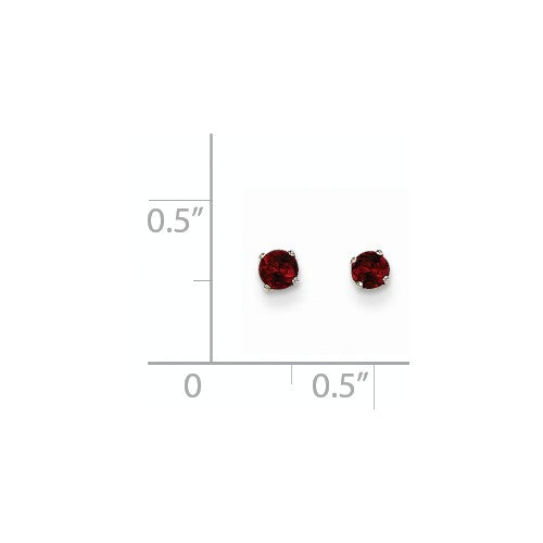 EARBBQGXBE109 14k White Gold 3mm Garnet Stud Earrings