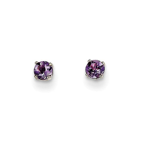 EARBBQGXBE110 14k White Gold 3mm Amethyst Stud Earrings