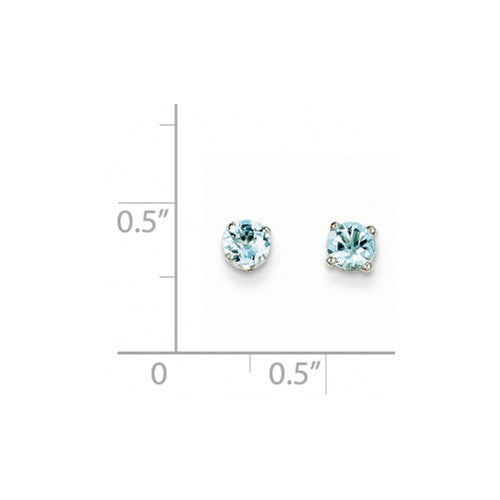 EARBBQGXBE123 14k White Gold 4mm Aquamarine Stud Earrings
