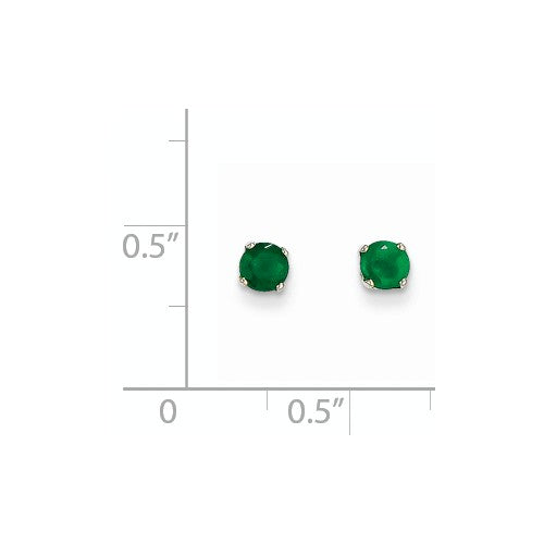 EARBBQGXBE125 14k White Gold 4mm Emerald Stud Earrings