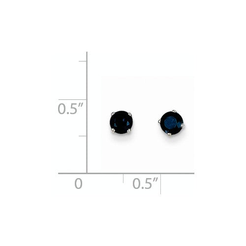 EARBBQGXBE129 14k White Gold 4mm Sapphire Stud Earrings