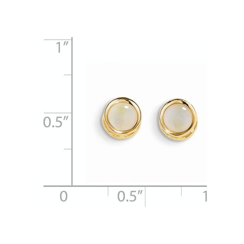 EARBBQGXBE153 14k 5mm Bezel Opal Stud Earrings