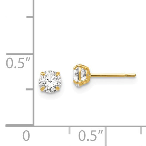 EARBBQGXD27CZ 14k 4mm Round CZ Post Earrings