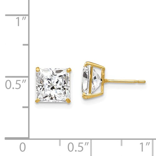 EARBBQGXD40CZ 14k 7mm Square CZ Post Earrings