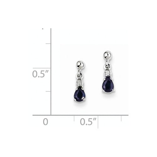 EARDDQGXE1776S/A 14k White Gold Blue Sapphire And Diamond Dangle Post Earrings