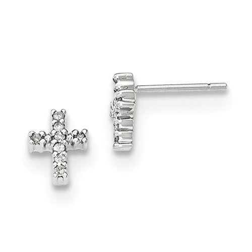 EARBBQGXE2872A 14K White Gold Polished Diamond Cross Post Earrings