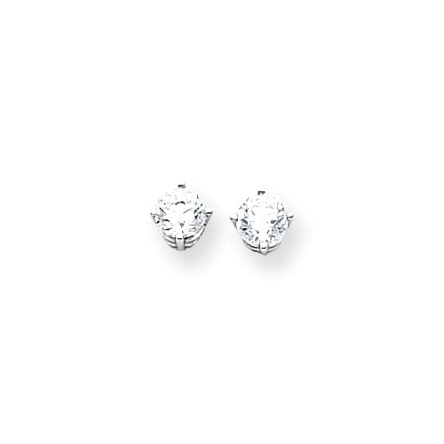 EARBBQGXE72WCZ 14k White Gold 5mm Cubic Zirconia Earrings