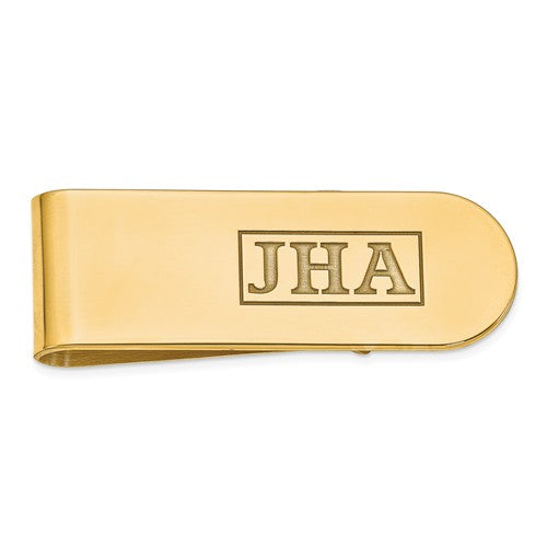 MCQGXNA606Y 14k Recessed Letters Polished Monogram Money Clip