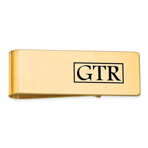 MCQGXNA609Y 14k Enameled Letters Polished Monogram Money Clip