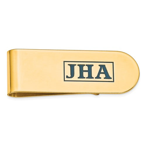 MCQGXNA610Y 14k Enameled Letters Polished Monogram Money Clip