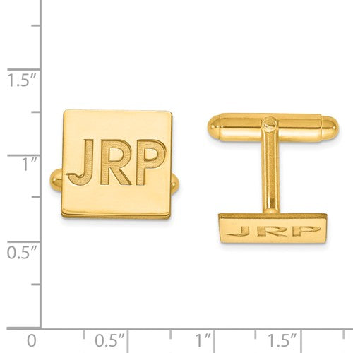CLQGXNA611Y 14k Recessed Letters Square Monogram Cuff Links