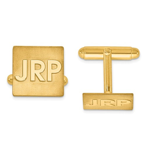CLQGXNA612Y 14k Raised Letters Square Monogram Cuff Links