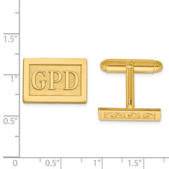 CLQGXNA614Y 14k Raised Letters Rectangle Monogram Cuff Links