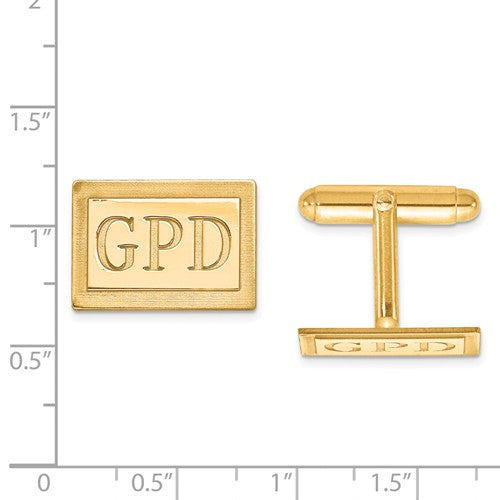 CLQGXNA615Y 14k Recessed Letters Rectangle Monogram Cuff Links