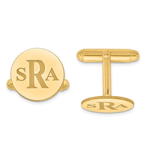 CLQGXNA617Y 14k Recessed Letters Circle Monogram Cuff Links