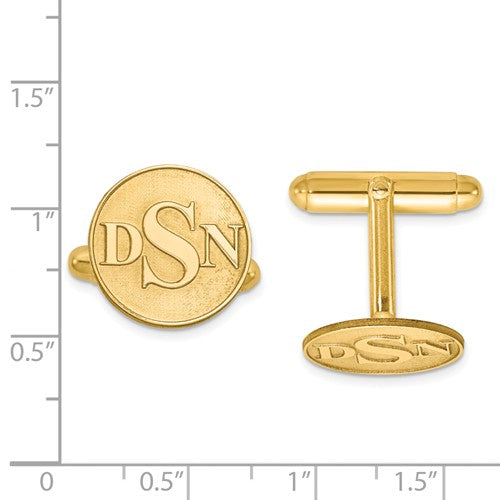 CLQGXNA618Y 14K Raised Letters Circle Monogram Cuff Links