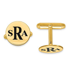 CLQGXNA619Y 14k Enameled Letters Circle Monogram Cuff Links