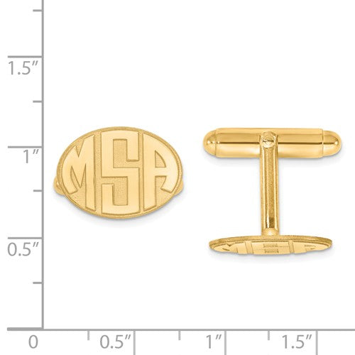 CLQGXNA620Y 14k Raised Letters Oval Monogram Cuff Links