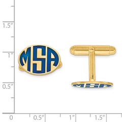 CLQGXNA622Y 14k Enameled Letters Oval Monogram Cuff Links