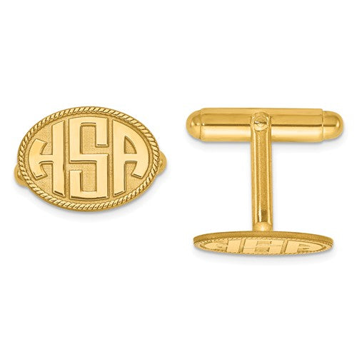 CLQGXNA623Y 14K Raised Letters Oval Border Monogram Cuff Links