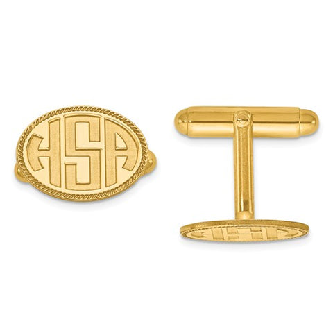 CLQGXNA624Y 14k Recessed Letters Oval Border Monogram Cuff Links
