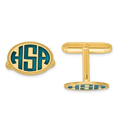 CLQGXNA625Y 14k Enameled Letters Oval Border Monogram Cuff Links