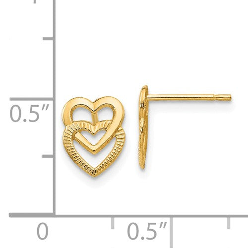 EARBBQGYE1649 14K Yellow Gold Polished Double Heart Post Earrings