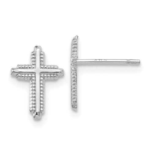 EARBBQGYE1676 14K White Gold Polished Cross Post Earrings