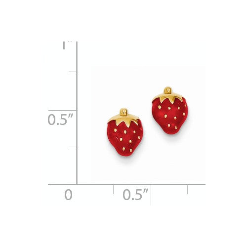 EARBBQGYE595 14k Enameled Strawberry Earrings