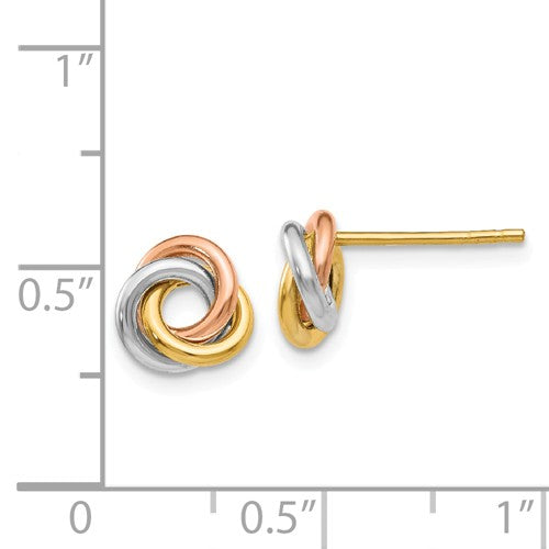 EARBBQGZ1239 14k Tri-Color Twisted Knot Post Earrings