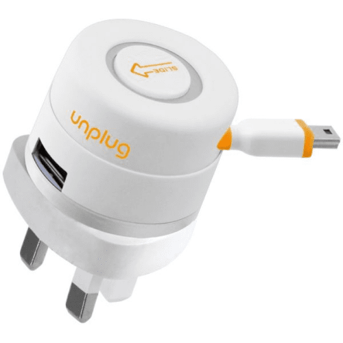 UnPlug Retractable Travel charger Micro USB 1A UK - White