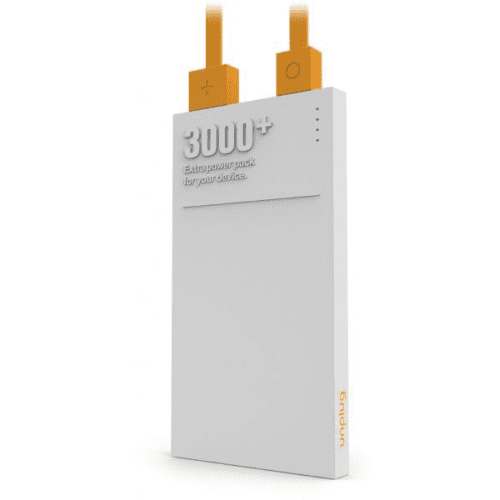 UnPlug Power Bank 3000/5000mAh with Micro USB cable - White/Orange