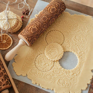Christmas Embossing Rolling Pin - FROSTED PAISLEY - Novel Buys
