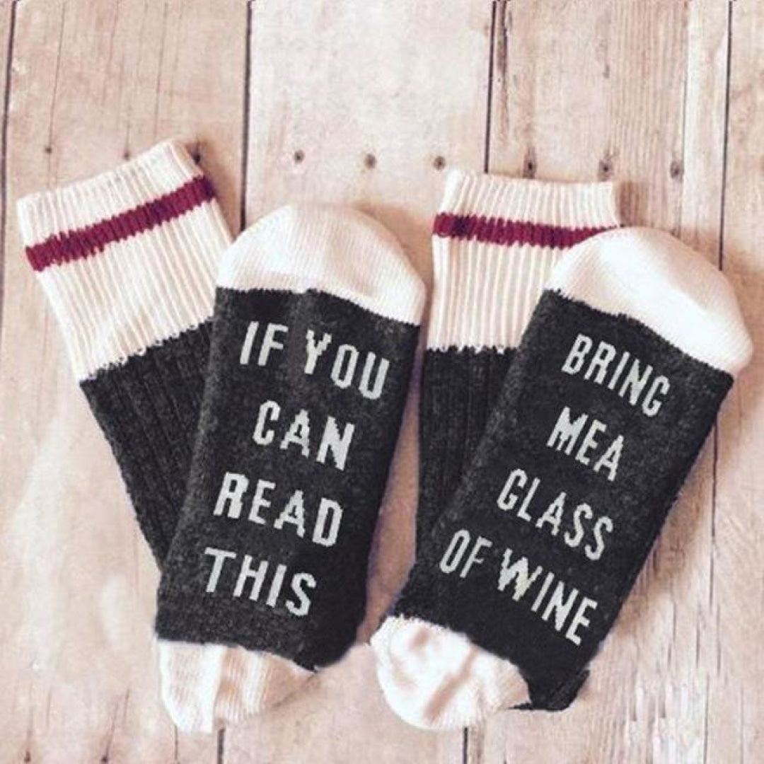 If You Can Read This Bring Me a Glass of Wine Socks - BLACK - Novel Buys